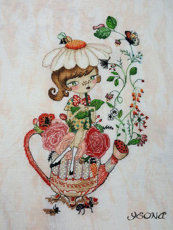 Crossstitch pattern Flower tea,size 96x161 42 colors DMC 17x19cm at 14 count