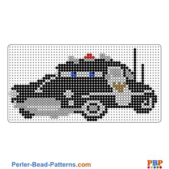 Sheriff from Cars perler bead pattern. Download a great collection of free PDF templates for your perler beads at perler-bead-patterns.com
