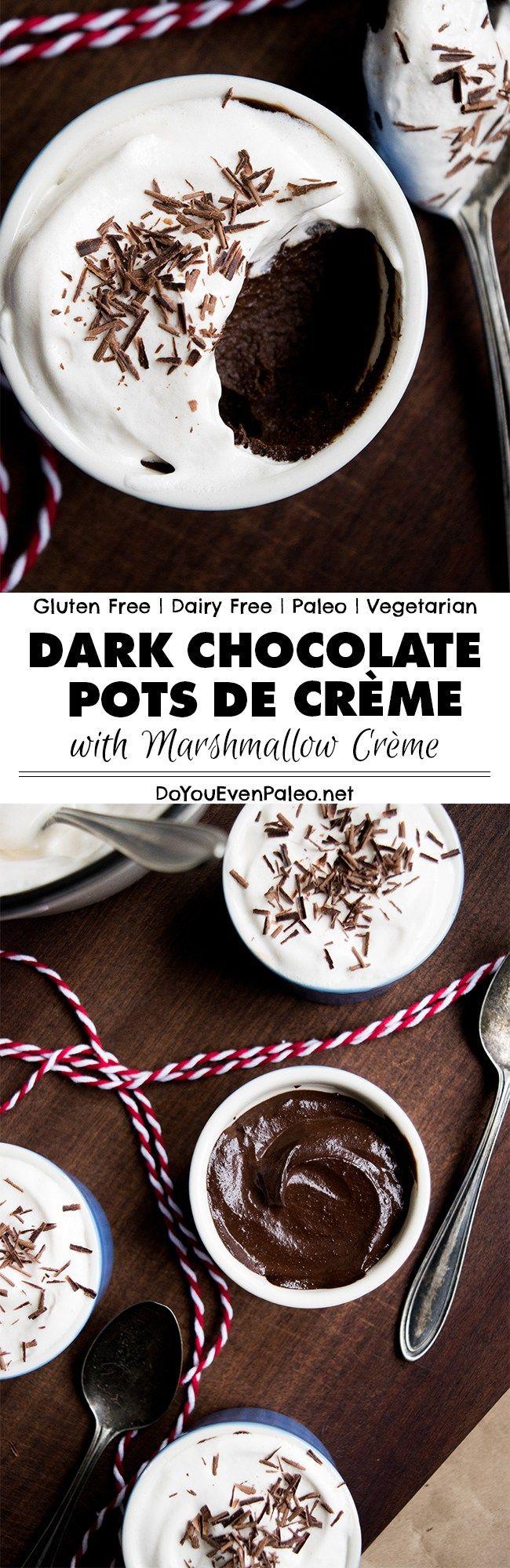 Dark Chocolate Pots de Crème with Marshmallow Crème   DoYouEvenPaleo.net