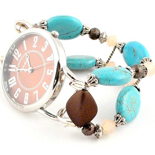 Turquoise and Brown Watch Band