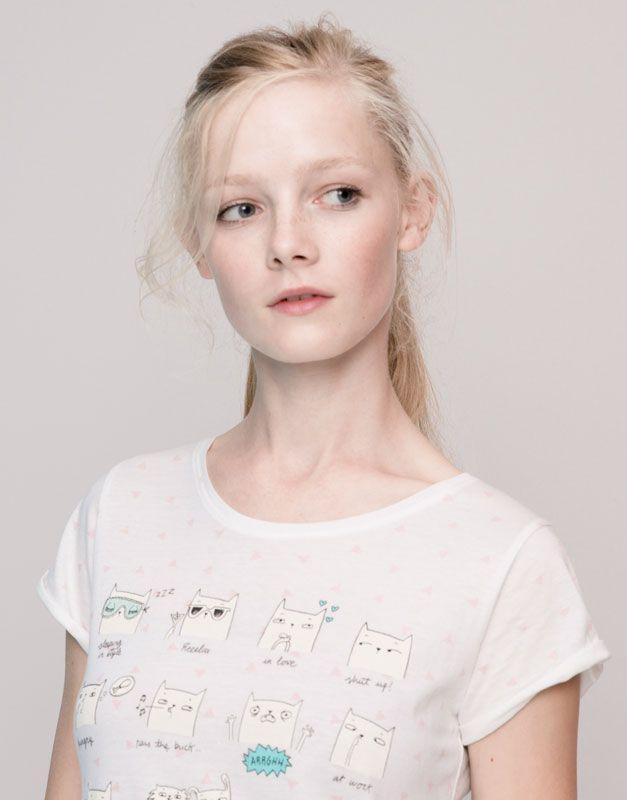 Pull&Bear - femme - t-shirts et tops - t-shirt print et imprimé allover manches courtes - glace - 09231375-I2015