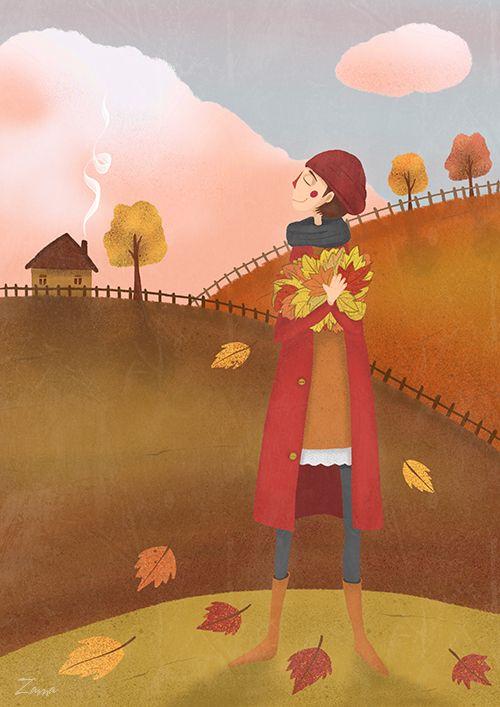 Zama Art on Behance #zama #zamart #illustration #cute #procreate #ipencil #art #illustrations #autumn