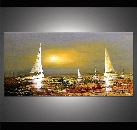 """Sailboat Painting Abstract Seascape Original Acrylic Painting by Osnat - MADE-TO-ORDER - 48""""x24"""" on Etsy, $1,099.00"""