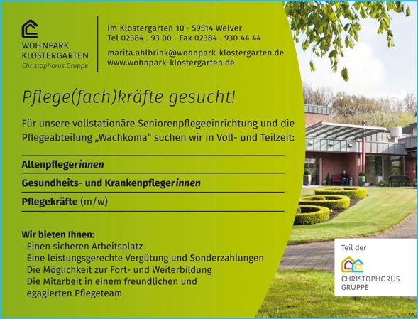 Stellenbezeichnung: Pflegefachkräfte m/w Pflegekräfte m/w Arbeitsort: 59514 Welver Nordrhein-Westfalen, Deutschland