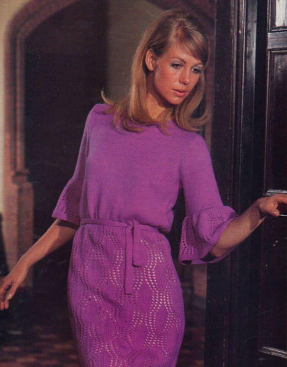 PDF Vintage 1970s Womens Ladies MAGENTA Lace Dress Knitting