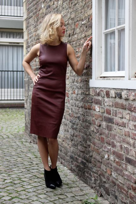 By Malene Birger red leather dress & boots
