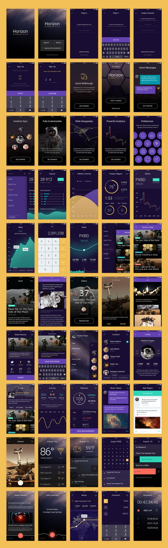 A premium set of 50 iOS mobile app templates across six categories with original…