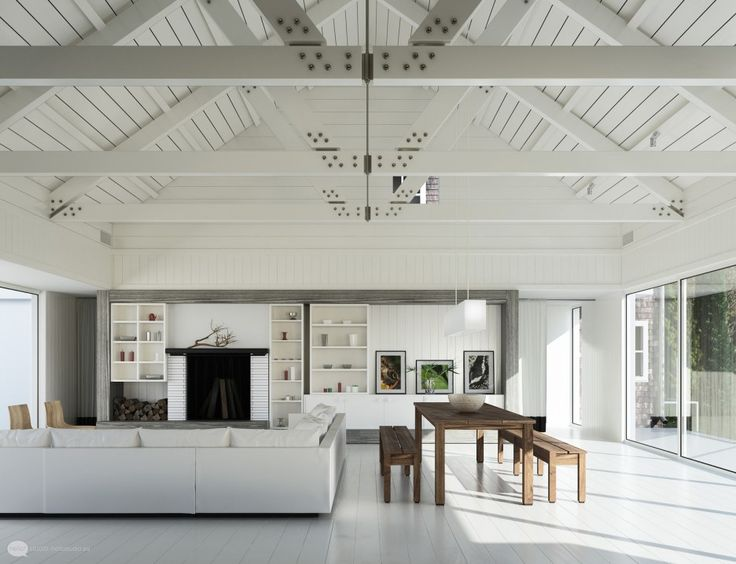 Living Room Fancy White Living Room Design: White Wooden Pergola White  Ceramic Floor Black Fireplace With Wood Shelf White Sectional Sofa Hardwood  Long ... Part 80