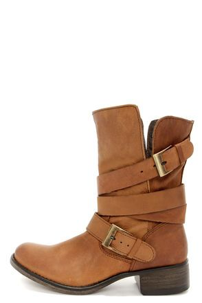 Steve Madden Brewzzer Cognac Leather Belted Mid-Calf Boots.