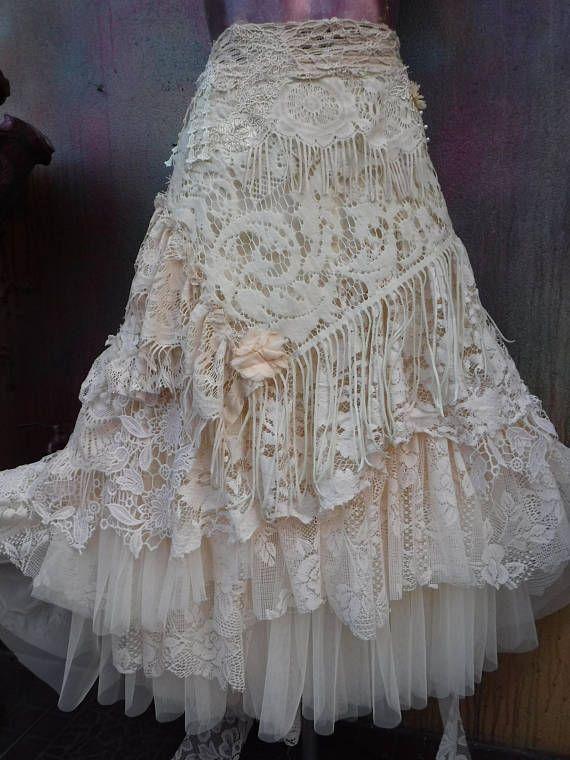 20% de descuento de novia nupcial jirones falda boho