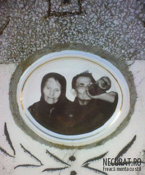 Romanian cemetary -picture on grave. You might as well go happy....