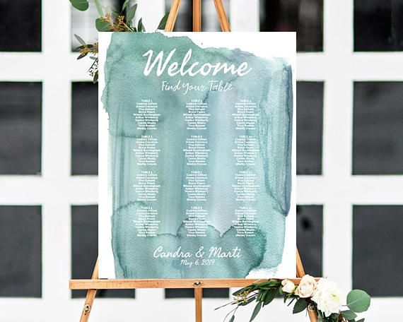 Seating Chart Template, Watercolor Wedding, Beach Wedding Seating Chart, Watercolor Wedding Sign, Reception Seating Chart, Seating Plan