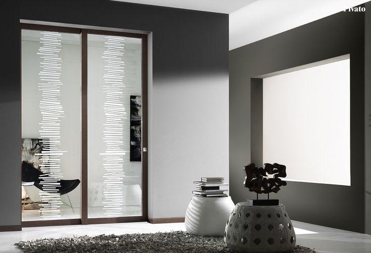 Porta interna in legno scorrevole con vetro