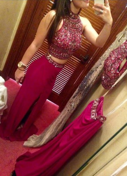 Long Prom Dresses,2 Piece Prom Gown,Two Piece Prom Dresses,Prom Dresses,New Style Prom Gown,2017 Prom Dress,Prom Gowns