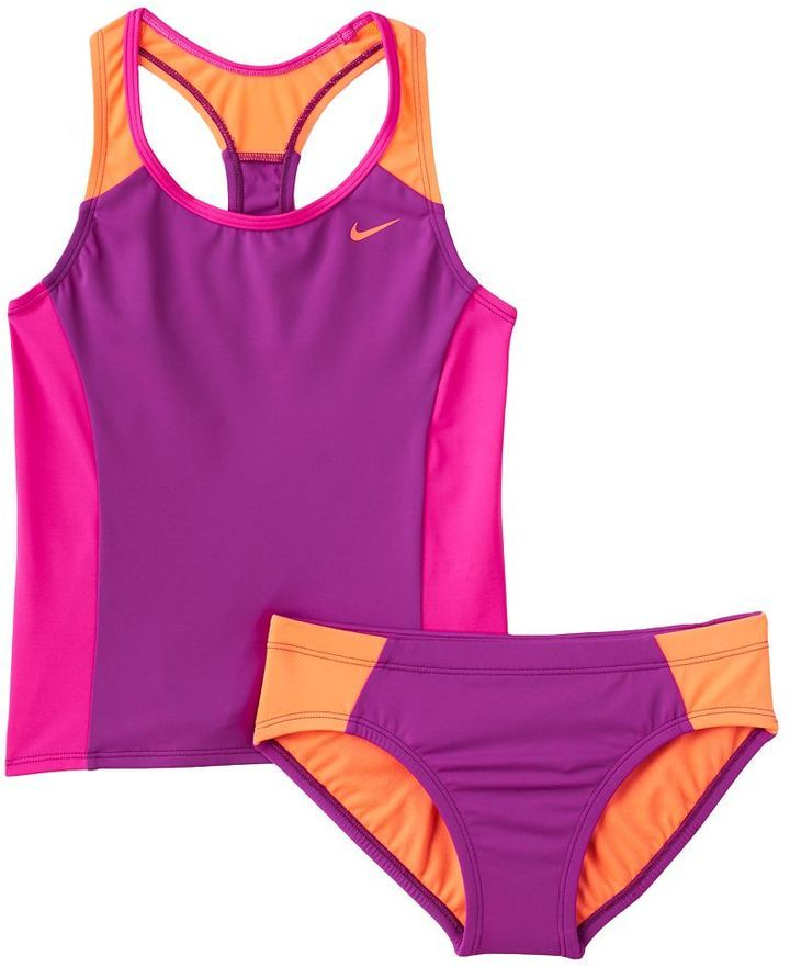 f8d0863e53af Girls 7-14 Nike 2-pc. Colorblock Tankini Swimsuit Set | Kid Style in 2019 |  Swimsuits, Tankini, Bathing suits