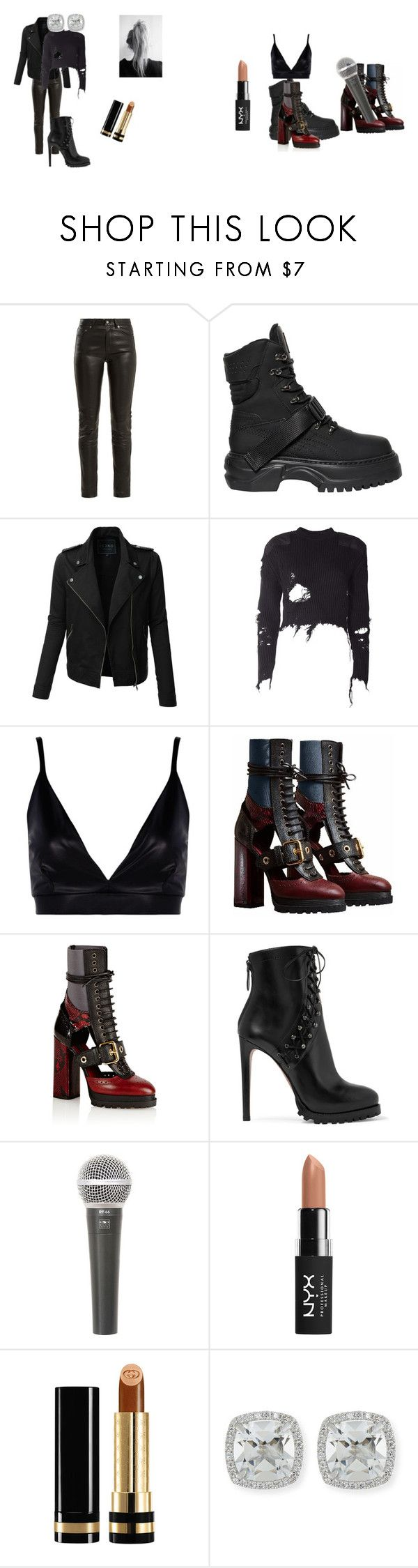 """""""Badass"""" by uknowit1200 on Polyvore featuring Yves Saint Laurent, Puma, LE3NO, adidas Originals, Boohoo, Burberry, Alaïa, Galaxy Audio, NYX and Gucci"""