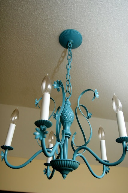 DONE! Teal chandelier over kitchen dining table :) My favorite piece to date <3