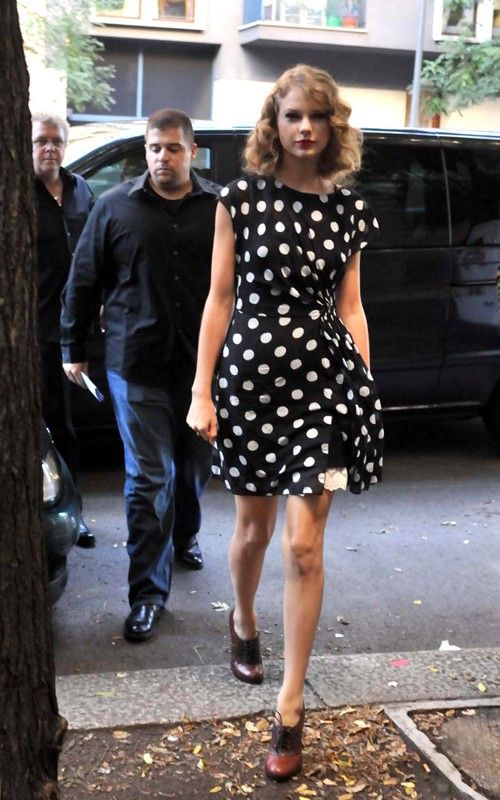 Taylor Swift polka dots and oxfords