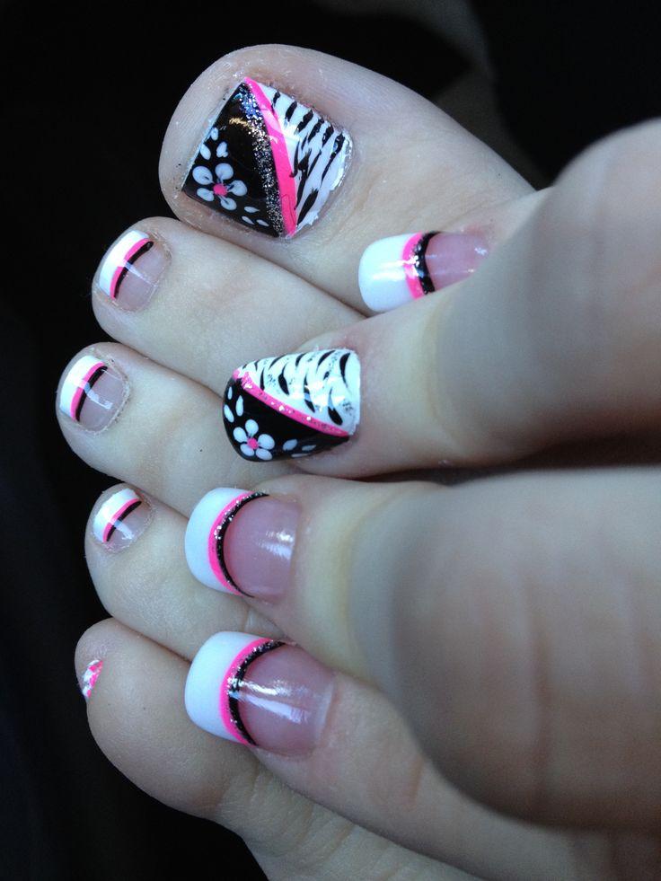 Pink black and white flower zebra toe nail design ...