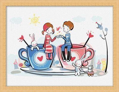 CR 023 – Cup of Love Rp 165.000,-  Canvas size: 30 x 40 Packaging size: 31 x 41 x 3.5 cm (setara dengan 1 kg)  ALICE painting kit sudah termasuk - Kanvas pattern lukisan yg dibuat dari high grade cotton dengan tekstur halus. - Cat pigment warna yg ramah lingkungan, tidak beracun dan tidak cepat pudar. - Beberapa kuas nylon. - Kertas manual kode warna  Email: jjbigstore@yahoo.com Instagram & Twitter: @Silvblue Shop Line: silvblue SMS: 0818 0832 9022 WhatsApp 0896-2860-9094