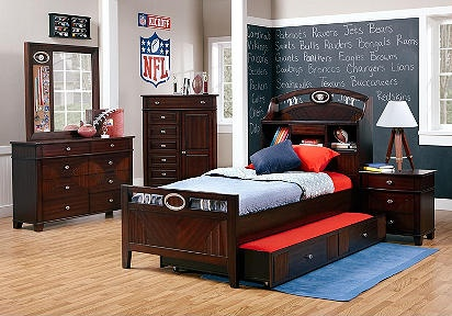 NFL Steelers Playbook 6 Pc Full Bookcase Bedroom!  Rooms to Go
