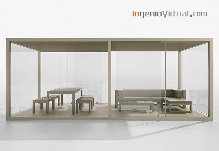 ingeniovirtual.com - Infografía de habitáculo exterior para parcela, realizada para estudio de arquitectura.