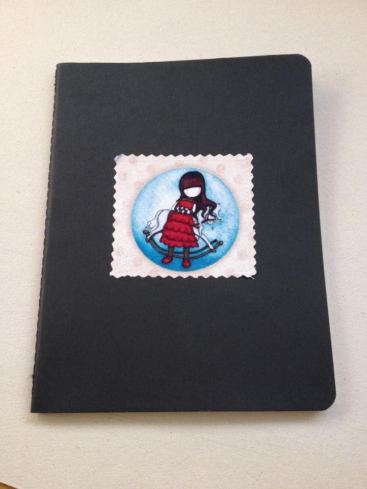 Caderno A4 tipo Moleskine personalizado com tecido gorjuss (costurado) Handmade notebook Gorjuss