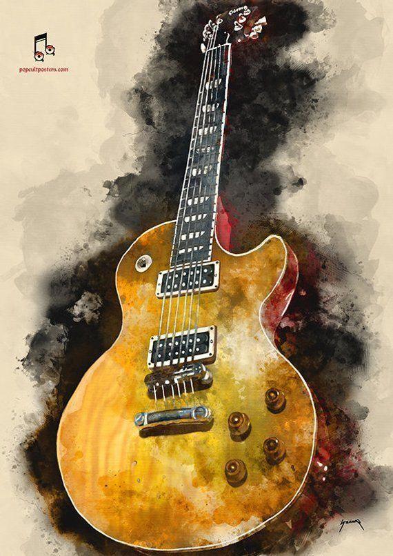 Slash Guns N Roses Poster Guitar Wall Decor Watercolor Print 11 6x16 5 Vintage Rock Digital Art Wall Art Guitar Wall Art Guitar Art Guitar Painting