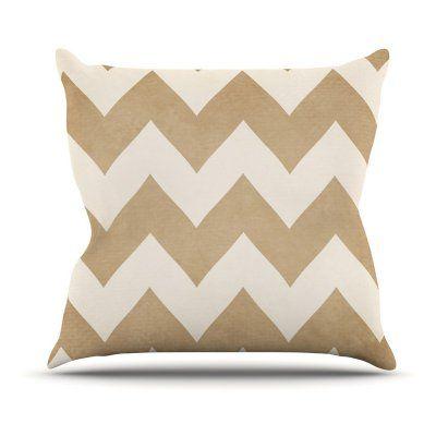 Kess InHouse Catherine McDonald Chevron Outdoor Throw Pillow Biscotti and Cream - CM1045AOP03