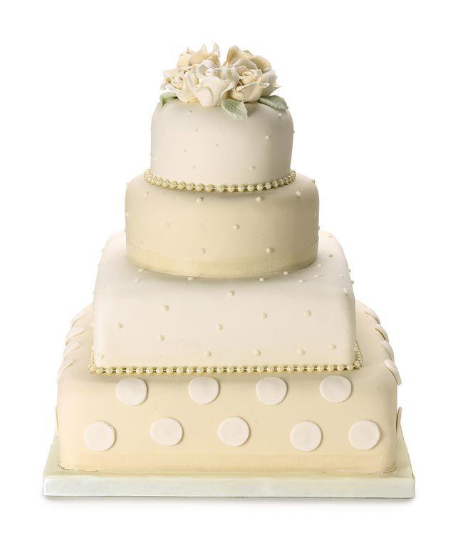 Polka Dots & Roses Wedding Cake (Ivory & Cream) - 2 Tier Fruit, 2 Tier Chocolate - Waitrose