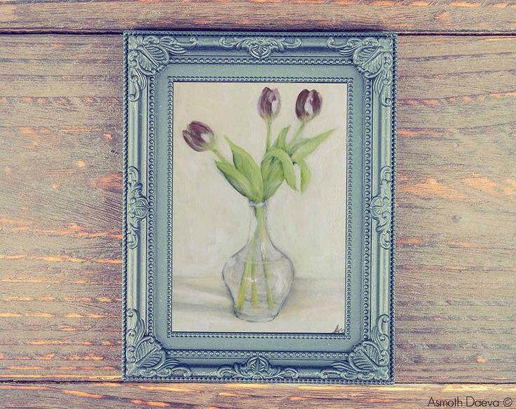 Tulipani viola in vaso di vetro, quadro dipinto ad acrilico su tela, natura morta, fiori in vaso, quadro fiori, quadro floreale, arte di AsmothDaevaArt su Etsy https://www.etsy.com/it/listing/205414846/tulipani-viola-in-vaso-di-vetro-quadro
