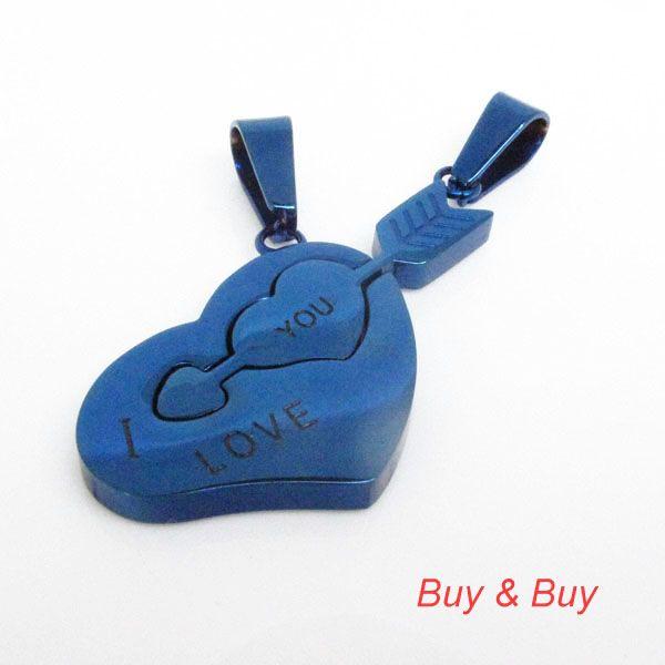 Нержавеющая сталь пара кулон, Любовник в форме сердца стрелка кулон с necklacke, Qlp-739a, Синий цвет, 5 pairs/lot