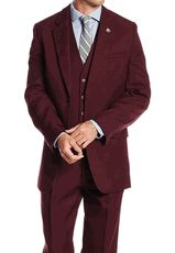 Stacy Adams Mens Burgundy 1920s Retro Style 3 Piece Suits Suny 4016-275 OS - click to enlarge