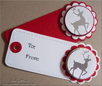 December 11, 2011 Quick Christmas Tags - Two Tags Die, 'WinterPost', silver embossed and then matted on Red or Silver Glimmer Paper.