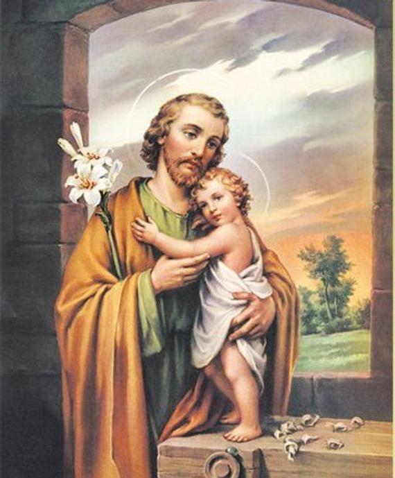 Saint Joseph 8 X 10 Art Print Catholic Vintage Etsy Feast Of St Joseph Jesus Prints St Joseph