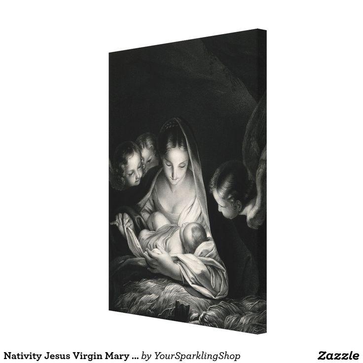 Nativity Jesus Virgin Mary Angels #BlackWhite  #Christmas #canvas