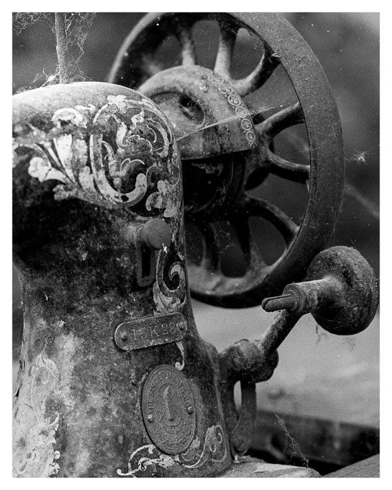 Old sewing machine fine art photography black and white urban decay photography abandoned industrial macro photo home decor 5x7 8x10