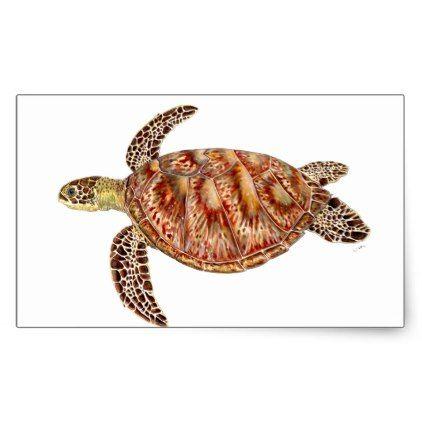 Green turtle - green Turtle Chelonia mydas Rectangular Sticker - craft supplies diy custom design supply special