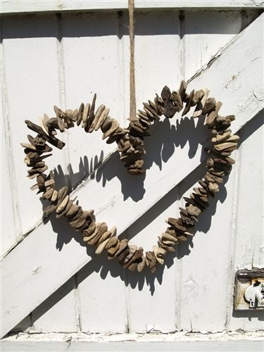 driftwood heart wreath- if you thread it on wire it can be adjustable shapes!