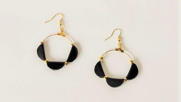 Handmade leather earrings.