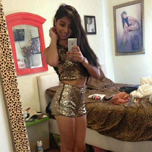 Cute gold sequin crop top and shorts Not a set but it blends perfect . Worn twice Forever 21 Other