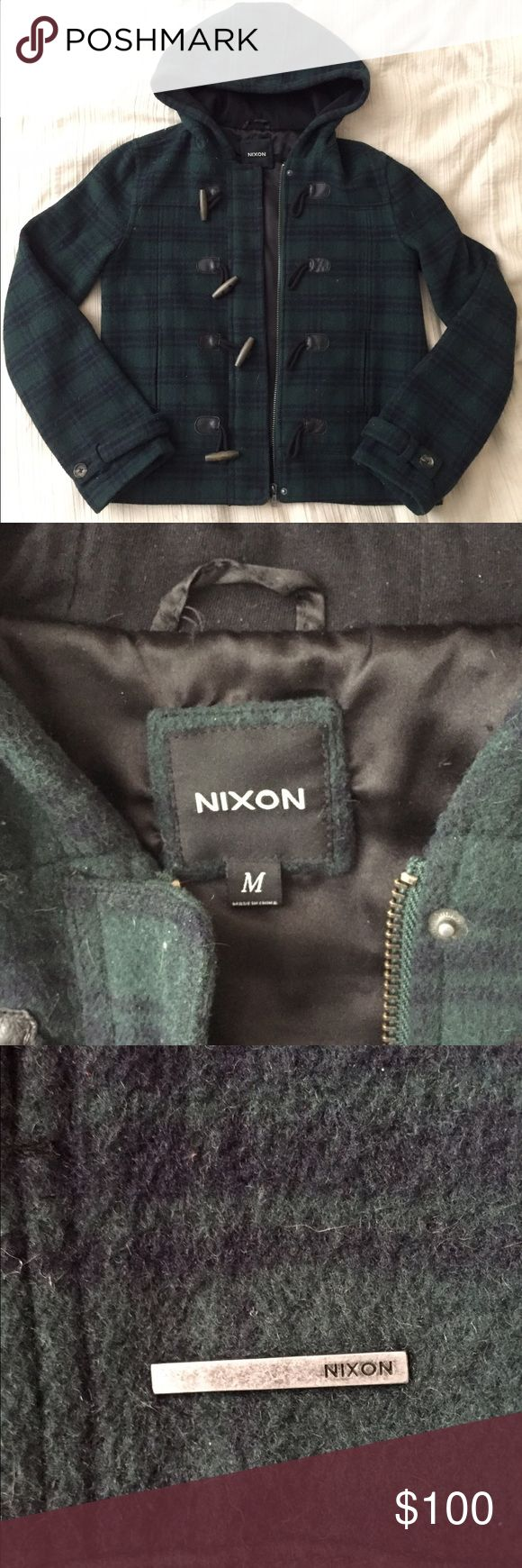 Nixon Green Women's Zip Up Hooded Coat Jacket 🌲FOREST GREEN🌲 NIXON WOMEN'S COAT ZIP UP HOOD / WORN 🖐🏽FUL OF TIMES / SIZE M / Shell: 50% wool 50% polyester Body/Sleeve Lining: 100% polyester Hood Lining: 100% cotton / SUPER WARM AND COZY 🐻🔥❄️ / Flattering / Taking offers!! Nixon Jackets & Coats