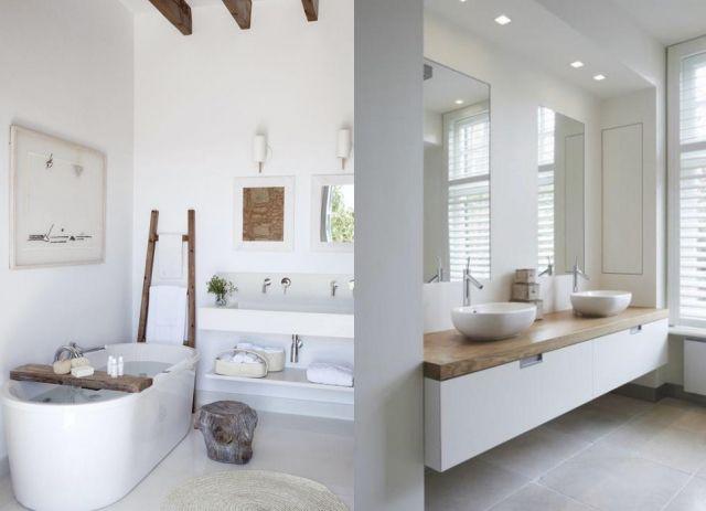 Une salle de bains en blanc et bois