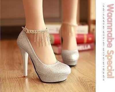 Moda Plateado 8cm Diamantes de Imitación Boda Nupcial Con Tiras Delgado Tribunal Zapatos De Tacones Altos | Ropa, calzado y accesorios, Ropa de boda y formal, Zapatos de novia | eBay!