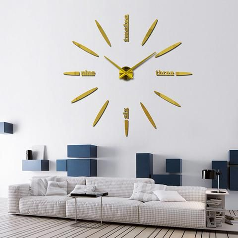 Large DIY Wall Clock   Black,Red,Gray,Blue,Pink,Silvery,Gold,Coffee