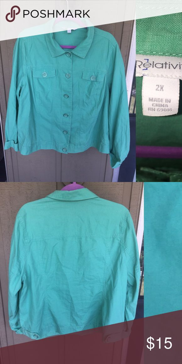 Mint green Jean jacket This jacket has been worn to a function one time. It's in new condition with no flaws as shown in the pictures. Optional sleeve buttons and pockets Relativity Jackets & Coats Jean Jackets