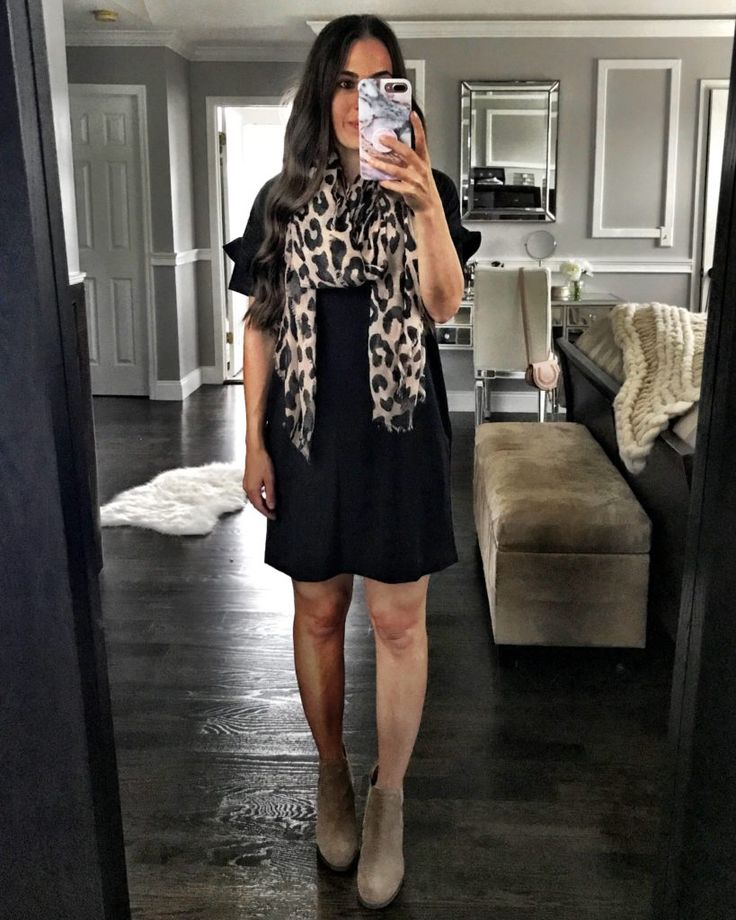 Leopard scarf & LBD | Fall scarf outfit