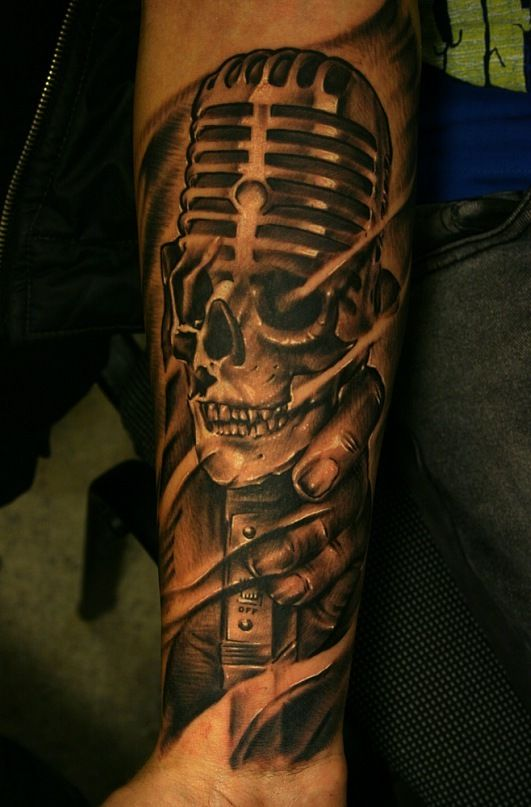 Old Microphone Tattoo by Igor Yoshi