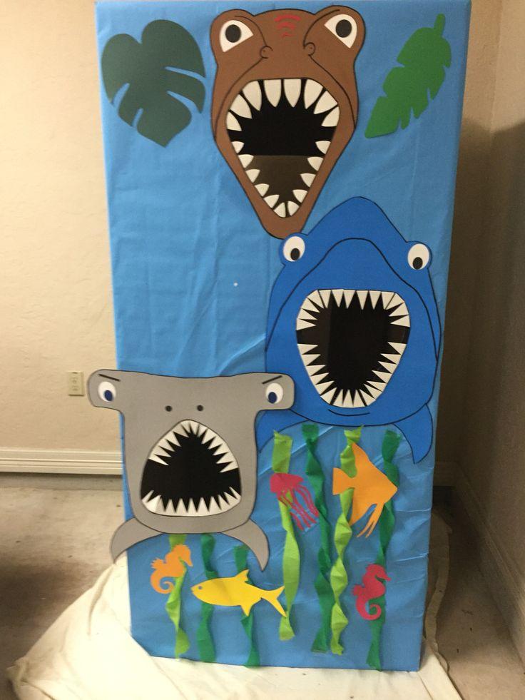 Dino and shark bean bag toss game