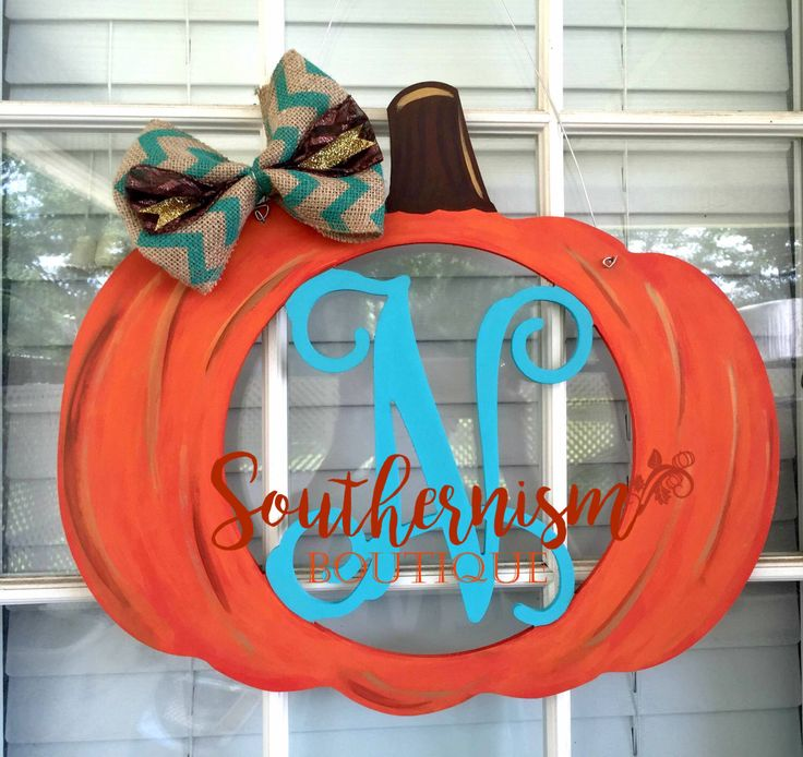 Wooden Door Hanger, Pumpkin Door Hanger, Fall Wooden Door hanger, Halloween Wooden Door Hanger, Monogram Wooden door hanger,pumpkin monogram by Southernismboutique on Etsy https://www.etsy.com/listing/462887877/wooden-door-hanger-pumpkin-door-hanger